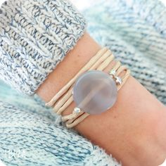 Grey Star Agate Zijde Wikkel Armband Zilver ♡ available at www.ibizamusthaves.nl