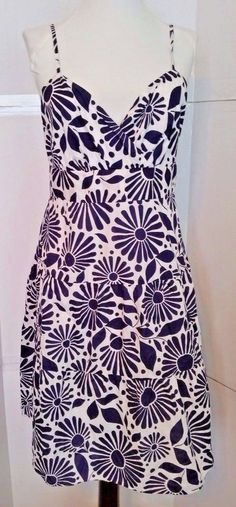 Tommy Hilfiger Sundress Blue White Womens Dress sz 6 small Floral straps #TommyHilfiger #SundressTiered #Casual