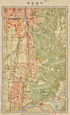 One Of Four 1931 Japanese Topographic Maps Of Kyoto And Its Surroundings