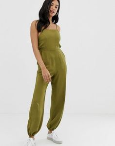 a60f6a40a7 ASOS DESIGN jumpsuit with strappy back and elasticated cuffs
