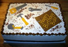 Tool Birthday Cake Half sheet cake created for a family friend who is an excellent woodworker/handyman. Cricket Birthday Cake, 50th Birthday Cakes For Men, Birthday Sheet Cakes, 70th Birthday, Retirement Party Cakes, Dad Cake, Tool Cake, Themed Cakes, Cake Decorating