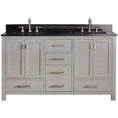 Palazzo 60-Inch Double Bathroom Vanity palazzo 60-inch bathroom vanity (travertine/white): includes a