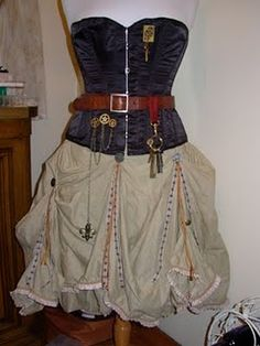 Steampunk skirt diy  on Steam Wench's Salon blog - lots of other tips on how to mod thrift store finds and/or sew from scratch, incl. bustle pad