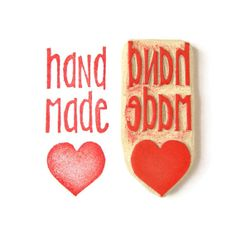 Handmade Love Rubber Stamp Hand Carved Stamp by creatiate on Etsy