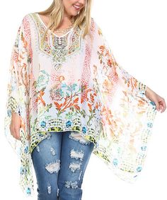Look at this #zulilyfind! White Paisley Silk-Blend Sidetail Tunic - Plus #zulilyfinds