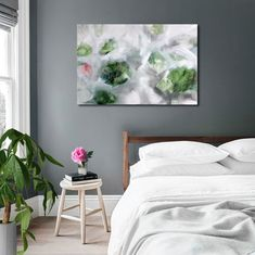 """20x30"""" Large green abstract canvas artwork 'Snow in April' Large green living room wall art Bedroom canvas painting Large grey abstract 2018"""