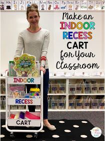 Make an Indoor Recess Cart for Your Classroom {Plus FREE Cart Labels in a Variety of Colors}