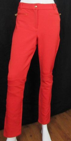 Pink Tartan Skinny Leg Yoke Stitch Seamed Knee Pants Mid Rise Red Orange 8 X 30 #PinkTartan #CasualPants