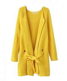 Long Candy Color Cardigan with Lace-Up Waist - Knitwear - Clothing