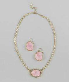 Love this Pink Rhinestone Drop Earrings & Pendant Necklace on #zulily! #zulilyfinds  $14.99
