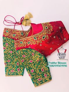 Red and green blouse South Indian Blouse Designs, Kerala Saree Blouse Designs, Cutwork Blouse Designs, Kids Blouse Designs, Hand Work Blouse Design, Stylish Blouse Design, Bridal Blouse Designs, Green Blouse, Girls Dresses