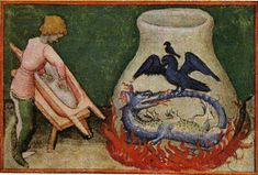 """On the right the flask. The dragon turned into a serpent Ouroboros. The bird that dominates the dragon-snake is a phoenix. And the little bird, above the phoenix, the raven of the alchemists - """"Aurora Consurgens"""". Masonic Symbols, Ancient Symbols, Sacred Symbols, Ancient Egypt, Aurora, Transmutation, Tarot, Ouroboros, Deborah Harkness"""
