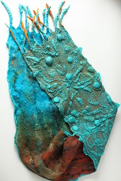 ** Teal, Blue, & Brown  Nuno Felted With Merino Wool Scarf @mariashkolnik