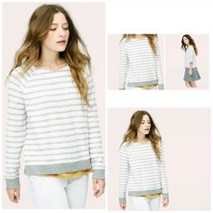 ⭐️⭐️SALE⭐️⭐️LOFT Sweater Size Medium Brand New Soft Blue Striped Sweater Size Medium  This is so pretty and VERY comfortable !! Check out my closet for more brand name items ⭐️FREE SHIPPING on purchases of $75 LOFT Sweaters