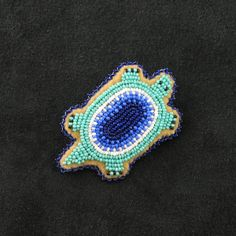 Turquoise Turtle Pin Native American Beadwork