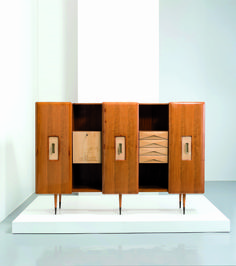 Gio Ponti Attributed; Maple, Mahogany and Brass Cabinet, 1950s.