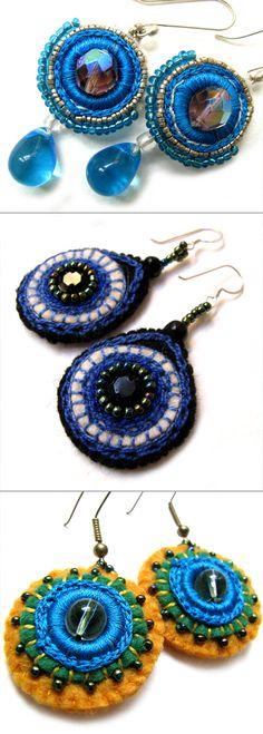 felt, bead and ribbon earrings from Fanni Vesztl