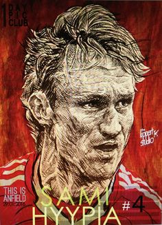 Project: 1Day,1Pic,1Club, player number 4 Sami Hyypia, 29/01/2016.#Liverpool#The Kop Arts Studio.