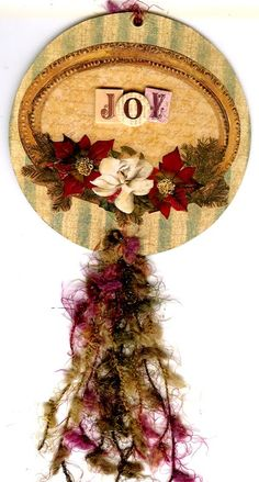 Altered CD Poinsettia Ornament by Lizabeth Lee