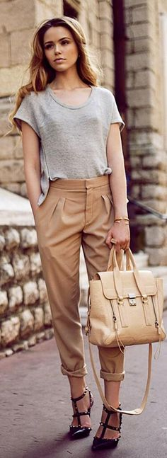 Summer Neutrals -   Kayture The bag and the pants. (what is going on with the shirt and bad bra, I don't know)