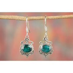 Chunky Emerald Gemstone Pure 925 Sterling Silver Earrings via Polyvore featuring jewelry, earrings, earring jewelry, gem earrings, sterling silver earrings, emerald gemstone jewelry and emerald earrings