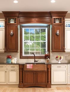 Covered Bridge Cabinetry- Two Toned French Style Kitchen Glass Front Cabinets, First Kitchen, French Country Style, Kitchen Cabinetry, Covered Bridges, Storage Solutions, Wood, Home Decor, Kitchen Cabinets