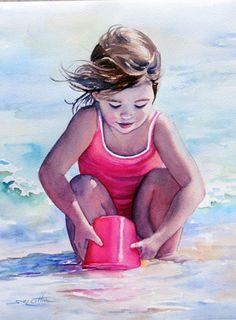 Klein meisje met roze emmertje - Lynn Cotton
