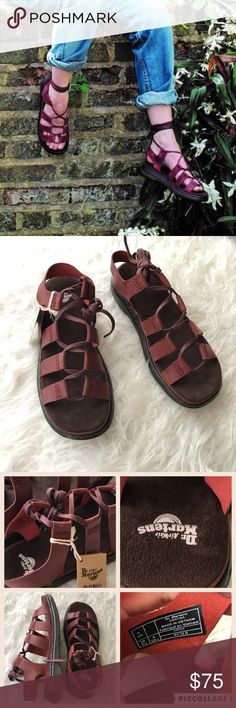 "NIB Dr. martens Kristina Ghillie sandal Brand new in box. Size UK6=US 8. - Open toe - Lace-up vamp with ankle ties - Faux suede padded insole - Stitched midsole - Approx. 1.5"" heel, 1"" platform  Materials Leather upper, textile lining, manmade sole Dr. Martens Shoes Sandals"