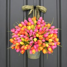 Hey, I found this really awesome Etsy listing at https://www.etsy.com/listing/125608811/spring-wreaths-tulips-farmhouse-door