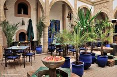 Central courtyard at the Riad Al Madina, Essaouira, Morocco - this is where breakfast is served
