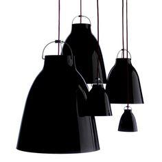 Caravaggio 2 pendel - Caravaggio 2 pendel - svart blank, röd textilsladd