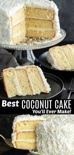 Homemade Coconut Cake Recipe, Coconut Cake Easy, Coconut Desserts, Coconut Recipes, Just Desserts, Pie Coconut, Coconut Macaroons, Coconut Curry, Coconut Shrimp