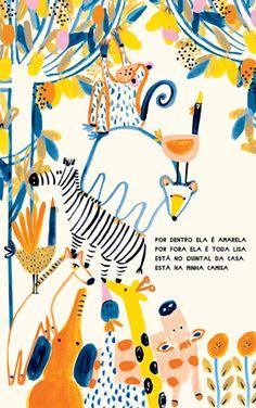 Children's watercolor book art and illustration, kids animal book watercolor illustration