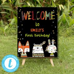 Tribal Wild One Welcome Sign, Boho Woodland Animals, Party Instant Download Printable Template Editable YOU PRINT Wild Ones, Woodland Animals, Party Printables, Birthday Celebration, Welcome, First Birthdays, Printable Templates, Creative, Handmade Gifts