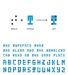 A typeface that combines braille with roman characters, communicating to both the sighted and the blind in the same space.