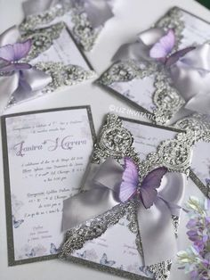 Easygoing accounted for quinceanera decorations Apply today Doily Invitations, Butterfly Wedding Invitations, Quince Invitations, Luxury Wedding Invitations, Wedding Invitation Cards, Wedding Cards, Butterfly Wedding Theme, Butterfly Party, Wedding Flowers