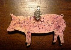Pink sparkly pig pendant with rhinestone pinch bail. Repin to be entered to win one of four $50 gift certificates during our Five Year Anniversary Celebration in July 2014.