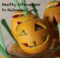 Your kids will love healthy alternatives to Halloween candy if you make them frightfully good. These healthy food ideas are low on sugar and still fun. HealthyFamilyMatters.com #theultimateparty-Week 21