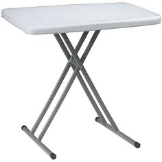Use this white adjustable height table for personal training or for a variety of purposes. This table is made out of resin material. It features a 200-pound weight capacity and plastic end caps on the feet that will protect your floors.