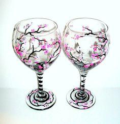Cherry Blossoms Handpainted Wine Glasses DIY