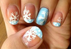 Snowflake nail design. cut nails straight across!