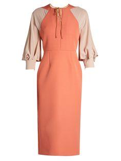 Atlen contrast-panel crepe-cady pencil dress | Roksanda