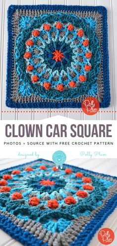 Crochet Square Pattern Clown Car Square Free Crochet Pattern - Bold afghan squares are my favourite! Clown Car Square uses colours strategically - blues and greys are creating the background, and pops of red create very Granny Square Crochet Pattern, Crochet Squares, Crochet Granny, Crochet Motif, Free Crochet, Granny Squares, Afghan Crochet, Granny Granny, Crochet Cushions