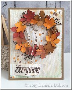 card wreath leaf leaves foliage - fall autumn - halloween thanksgiving - Gratitude by Daniela Dobson