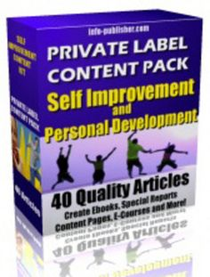 SELF IMPROVEMENT & PERSONAL DEVELOPMENT: 40 PLR Articles  http://www.tradebit.com/filedetail.php/8744690-self-improvement-personal-development-40-plr