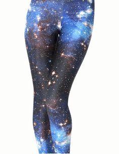 Blue Galaxy Fashion Print Tight Pants For Women Spandex Leggings