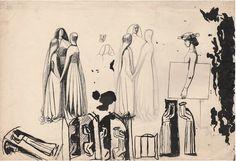 "Twentieth Century British Art by Evelyn Dunbar: ""Studies for Faith, Hope and Charity, an unrealised allegorical painting [HMO Art Studies, The Twenties, Charity, Modern Art, Literature, Study, Faith, Pencil, Sketch"