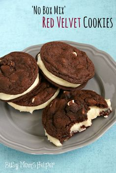 No Cake Mix Red Velvet Cookies / Busy Mom's Helper #redvelvet #scratch #abusymomshelper http://www.busymomshelper.com/2014/03/no-cake-mix-red-velvet-cookies.html