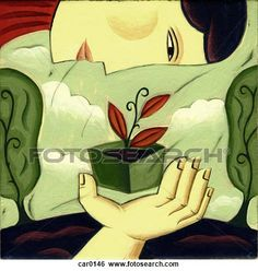 Stock Illustration - A woman looking at a seedling. Fotosearch - Search Clip Art, Drawings, Fine Art Prints, Illustrations, and Vector EPS G...