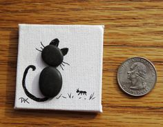 """Items similar to Miniature """"BLACK CAT with ANT"""" Pebble Art Magnet 2"""" x 2"""" on Canvas on Etsy"""